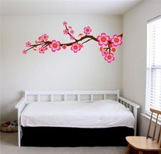 Floral Branch With Flowers - Printed Wall Decal Sticker